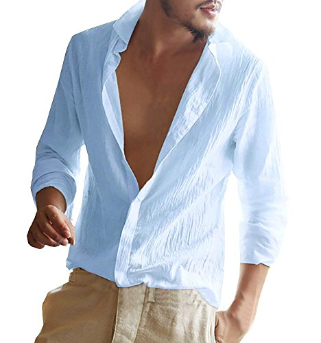 Hombre Camisa Slim Fit Manga Larga Chic Casual Top Blusa Lino Shirt Formal Color Sólido Blusas De Trabajo Elástica Suelta Camisa Azul X-Small