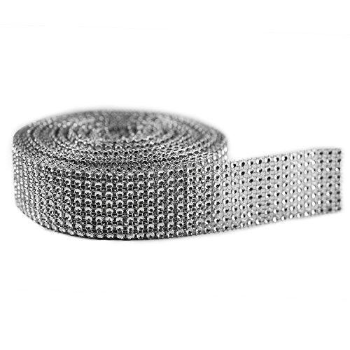 "Silver Diamond Sparkling Rhinestone Mesh Ribbon for Event Decorations, Wedding Cake, Birthdays, Baby Shower, Arts & Crafts, 1.5"" x 10 Yards, 8 Row, 1 Roll"
