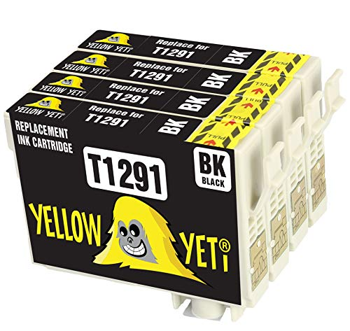 Yellow Yeti Ersatz für Epson T1291 Druckerpatronen Schwarz kompatibel für Epson Stylus SX235W SX425W SX435W SX445W SX525WD BX305FW BX305F BX635FWD Workforce WF-3010DW WF-3520DWF WF-3540DTWF WF-7515