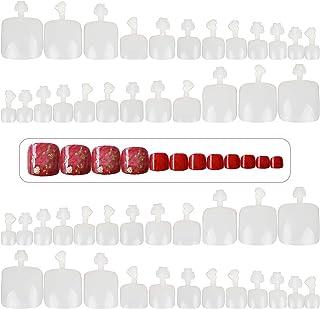 FLOFIA 600pcs Uñas Falsas Postizadas de Pies Puntas Uñas Postizas Acrilicas Francesa Naturales para Pies Tips Uñas Artificiales, 12 Tamaños
