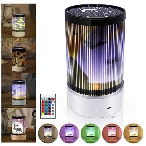 EXTSUD Led Projektionslampe Weihnachten Licht Projektor Lampe mit 4 Filme Bilder und Fernbedienung Wiederaufladbare Handheld Nachtlicht Kinderlicht Geschenk für Party Weihnachten Neujahr