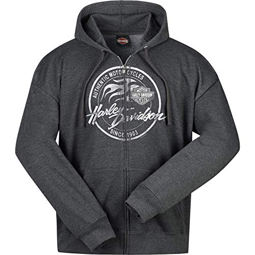 HARLEY-DAVIDSON Military - Men's Charcoal Heather Hooded Zippered Sweatshirt - Overseas Tour