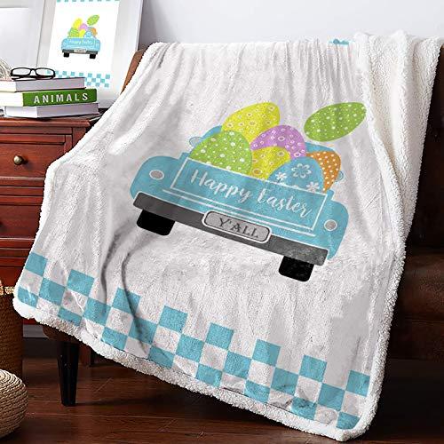 AEMAPE Manta de Tiro - Happy Easter Egg Blue Truck Buffalo Check Plaid Mullido Manta de Microfibra súper Suave Manta difusa para sofá Cama 60 'x50'