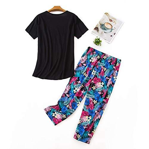 Misscoo Conjunto de pijama sin mangas para mujer, pantalones capri para mujer, niñas, estudiantes, algodón, primavera, verano, pijamas, ropa de dormir