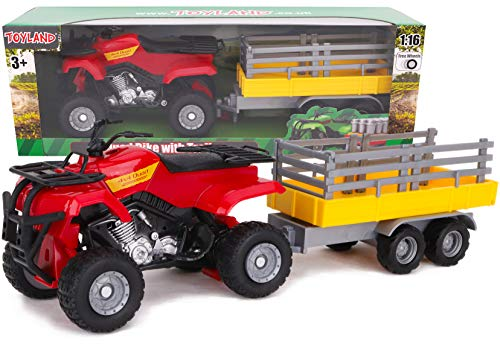 Toyland® Farm Quad & Trailer Playset - Schaal 1:16 - Free Wheel Action - Boys Farm Toys (Rood)