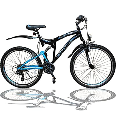 Talson 26 Zoll Mountainbike Fahrrad MIT VOLLFEDERUNG & Beleuchtung 21-Gang Shimano OXT Black