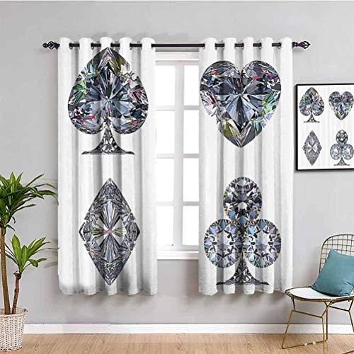 Diamond Decor - Cortinas de bloqueo de luz para sala de estar, diseño gráfico, color blanco y plateado