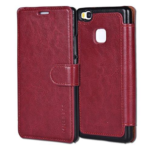 Mulbess Cover per Huawei P9 Lite, Custodia Pelle con Magnetica per Huawei P9 Lite Caso, Vno Rosso