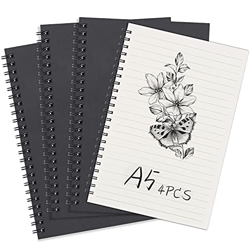 Spiral-Notizbuch, A5,liniert, 4er-Pack, Schwarzem weicher Einband, Kraftpapier, Notizblöcke, Planer, ideal für Reisen und Schule