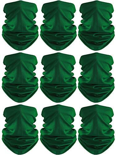Face Cover Scarf UV Protection Neck Gaiter Scarf Sunscreen Breathable Bandana (Dark Green, 9)