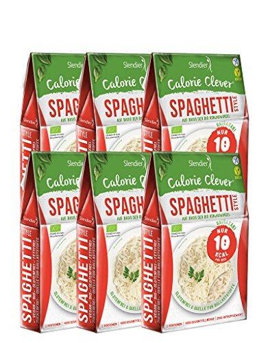 6 x Slendier Tagliatelle konjac biologiche, stile Spaghetti, ipocaloriche, shirataki, fonte di fibre, senza glutine 6 x 250 g…