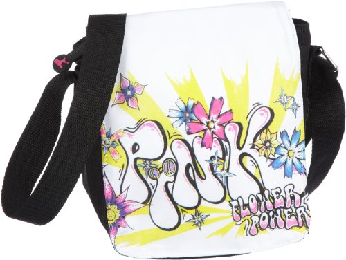poodlebag® Messenger-Bag Young Art Umhängetasche Overcross Tasche Schultasche jetzt 70% unter UVP Schwarz (Black) Slogan - Pink Größe 17 x 6 x 19 cm (B x H T)