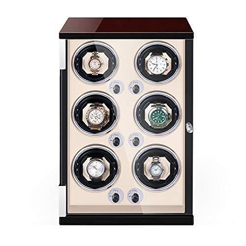 AYYEBO Caja Enrolladora Automática 6 Luz LED Incorporada Almohadas Reloj Ajustables 5 Configuración Modo Rotación Motor Silencioso (Color : White)
