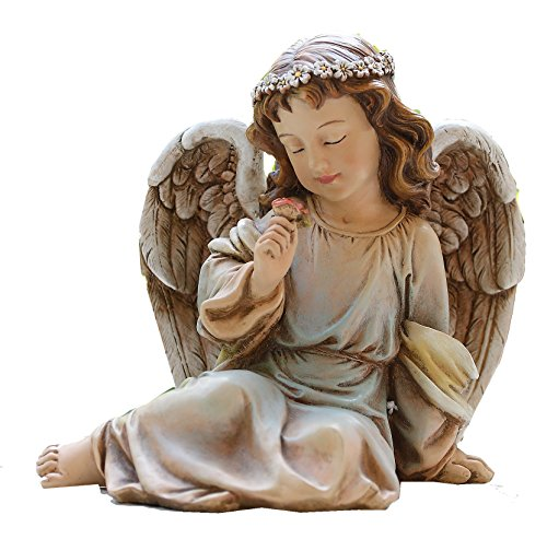 "Park Place Sitting Angel Figure Garden Statue, 7.5"" - Napco 18415"