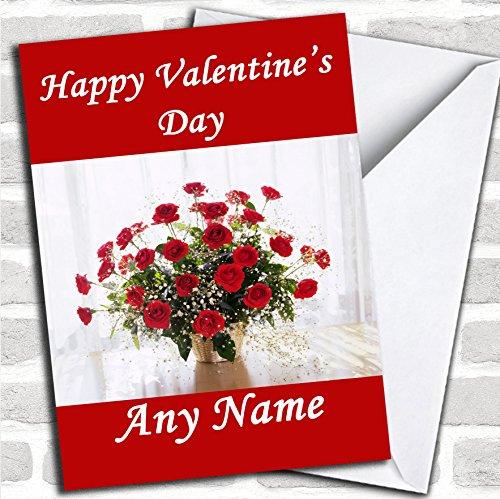 Rode rozen in een vaas romantische valentijnskaart met envelop, kan volledig worden gepersonaliseerd, snel en gratis verzonden