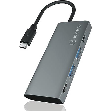 ICY BOX Hub USB 3.1 Gen 2 con 4 Puertos USB, USB 3.1 Gen2 10 Gbps, conexión USB-C, Aluminio, Cable Integrado, Color Antracita