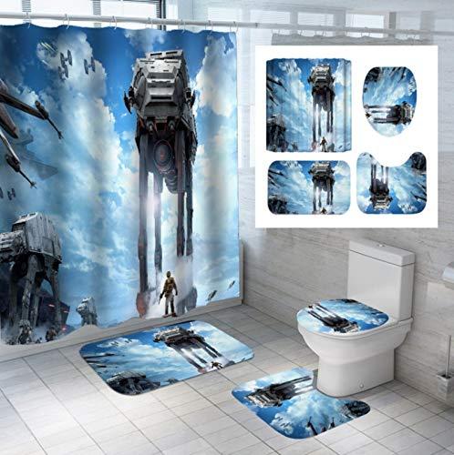 Duschvorhang-Set Mit Rutschfestem Teppich, Star Wars-Toilettendeckelabdeckung, Badematte Und 12 Haken, Wasserdichtem Mehltau-Badezimmer
