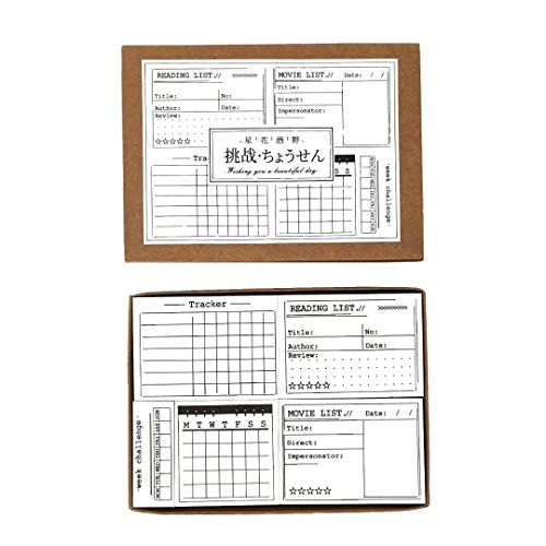 Wooden Rubber Stamps Set,Memo List Time Record Planner Tracker Calendar Weekly Challenge Reading List Stamp for Bullet Journal Scrapbooking DIY Gift Seal