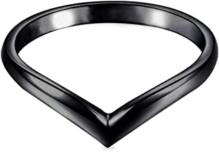 Kingray Jewelry Stainless Steel Classical Plain Pointed Chevron Stacking Promise Ring Wedding Band