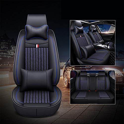 カーシートカバーアイスシルクレザー素材フルセットフィット防水VWジェッタパサートトゥアレグCC GLI GTIゴルフティグアンに最適,ブルー