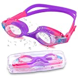 Weyeen Kids Swimming Goggles for (Age 3-12) Anti Fog No Leakage UV Protection Childrens Swimming Goggles for Girls Safe Soft Silicone Adjustable Head Strap Clear Kids Goggles