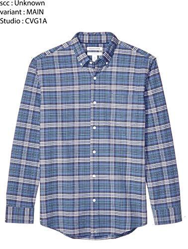 Amazon Essentials Men's Regular-Fit Plaid Long-Sleeve Pocket Oxford Shirt, Blue/Green, X-Large
