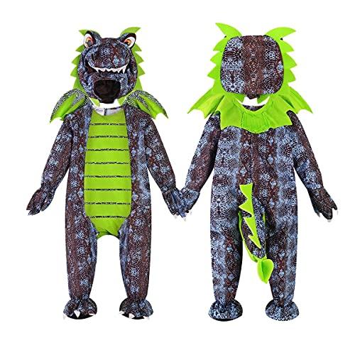 GREAHWD Costume de Dinosaure, Combinaison de Barboteuse Dragon à Capuche pour Enfants, Pyjama Taille Unique Animal (Costume dinosaure, Small)