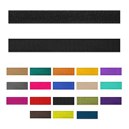 SIMON PIKE 10m Klettband 15 mm breit in schwarz, Klett Flausch und Haken zum Nähen, 10 Meter Klett Hakenband und Flauschband am Stück