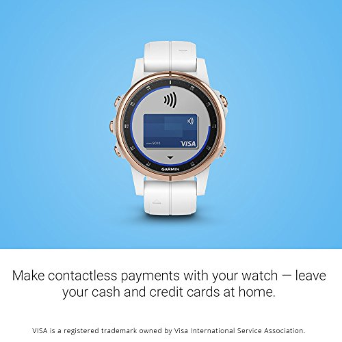 Garmin fēnix 5S Plus, Smaller-Sized Multisport GPS Smartwatch, features Color Topo Maps, Heart Rate Monitoring, Music and Pay, White/Rose Gold (010-01987-06)