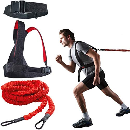 YNXing Dynamic Resistance Trainer Acceleration Speed Cord for Resistance Training to Improve Strength, Power, and Agility 5m/2m Elastic Cord Set (3m Set)