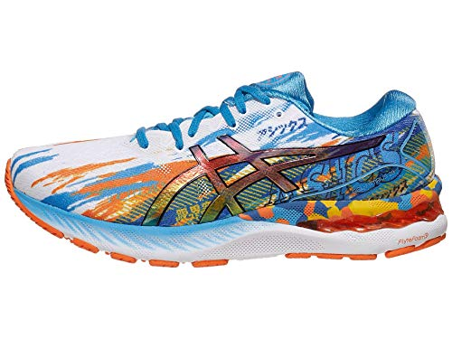 ASICS Men's Gel-Nimbus 23 Running Shoes, 9.5, Digital Aqua/Marigold Orange