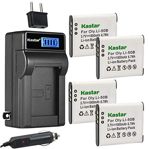 Kastar 4-Pack D-Li92 Battery and LCD AC Charger Compatible with Pentax Optio I-10, Optio RZ10, Optio RZ18, Megazoom X70, Optio WG-1, Optio WG-1 GPS, Optio WG-2, Optio WG-2 GPS Digital Cameras