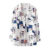 Women's Print Blouse Korean Floral Vintage Long Sleeve Fashion Spring Summer Smart Casual Top 2020 (White, XL)