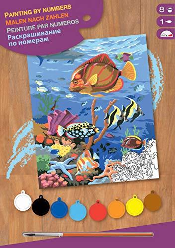 MAMMUT 8220032 - Malen nach Zahlen Junior, Seeleben, Komplettset mit bedruckter Malvorlage im A4 Format, 8 Acrylfarben, Pinsel und Anleitung, Malset für Kinder ab 8 Jahre