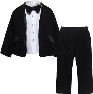 SPRMAG ベビー スーツ フォーマル シャツ アウター ズボン ネクタイ 男の子 セットアップ 結婚式 春秋 4点 80-100
