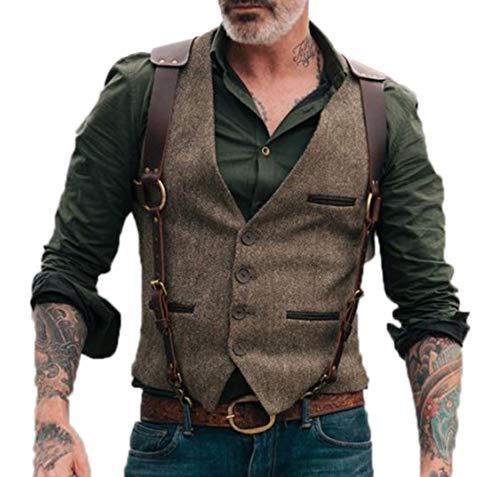 Chaleco Retro para Hombre Chaleco de Chaleco con Bolsillos de un Solo Pecho de Moda