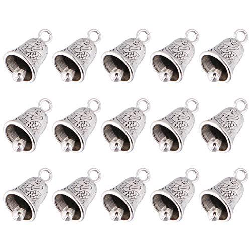 TOYANDONA 20 campanelle in lega di metallo Jingle Bells color argento, da appendere, per creare gioielli fai da te, albero di Natale, decorazioni natalizie