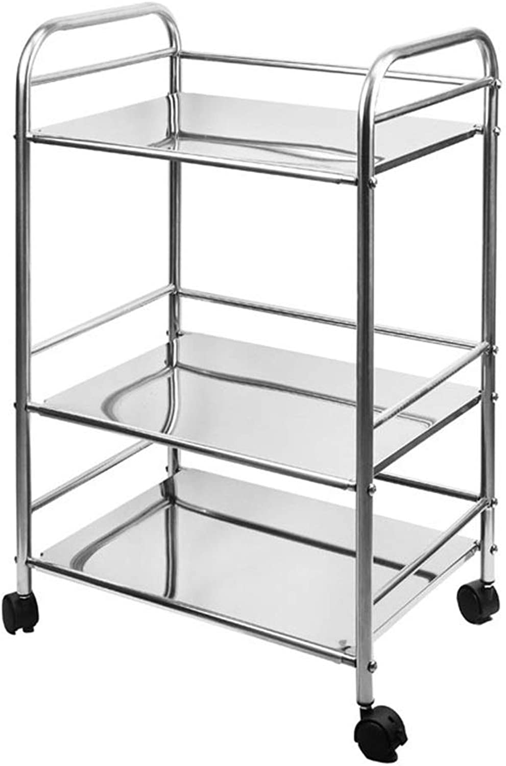 Kitchen Shelf Microwave Shelf with Wheels Can Be Moved Or Fixed Stainless Steel Multi-Layer Finishing Frame 3 Layers Multi-Size Length 15.7-19.6-23.6 Inches