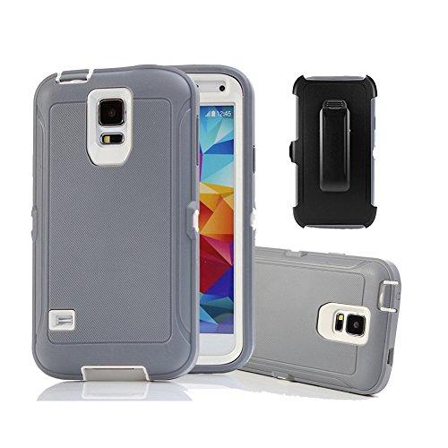 Harsel Defender Series Schutzhülle für Galaxy S5, strapazierfähig, Baum-Camouflage, robust, Hybrid-Gummi, mit Gürtelclip, integrierter Displayschutzfolie, Grau / Weiß