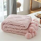 MYLUNE HOME Stilvolle Chenille Strickdecke für Fernsehen oder Nap auf dem Stuhl Sofa & Bett 130 * 160cm Rosa