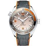 Reloj Automático Moderno con máquina a la Vista y Correa de Caucho ultracómoda para Hombre (Naranja)