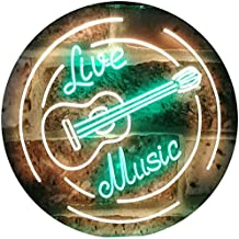 Live Music Guitar Band Room Studio Dual Color LED Neon Sign Green & Yellow 600 x 400mm st6s64-i2546-gy