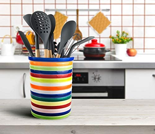 Sameka Ceramic Large hand painted Rainbow colorful bright Utensil crock holder Multicolor height product image