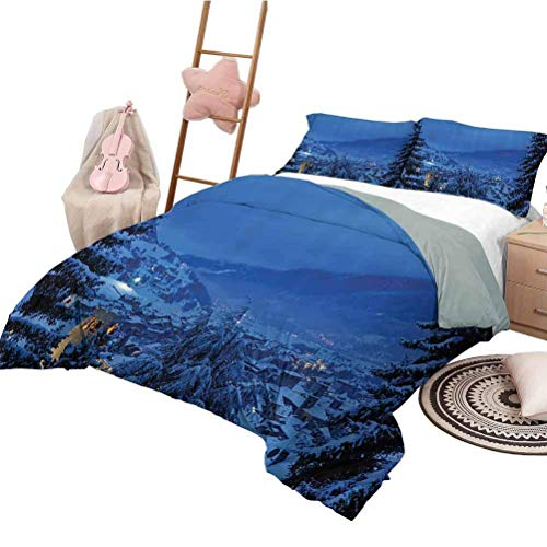 Bedspread Quilt Set Farm House Decor Boys Duvet Cover Set Winter Pine Trees Forest in European Woodland by The Mountains Nature Print Blue King Size