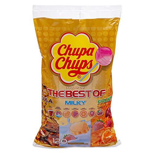 Chupa Chups Lecca Lecca The Best Of, Lollipop Assortiti Gusto Cola, Panna Fragola, Vaniglia, Lampone, Arancia, Fragola, Ciliegia, Busta da 120 Lollipops Monopezzi