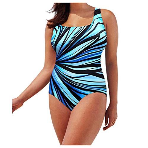 QRTU Bañador para mujer de una pieza, push up, multicolor, tallas grandes, sexy, espalda descubierta, impresión radial, escote en V, azul, 46