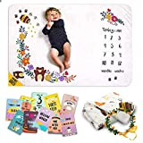 """MeBlanky Honey Bear Baby Milestone Blanket w 12 Milestone Cards Cute Newborn Photography Props – Soft Double Sided 3X Thicker Photo Fleece Blanket – Age Blanket for 1 to 12 Months boy or Girl, 47x47"""""""