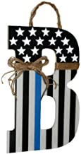 Thin Blue Line Initial Wreath | Police Officer Door Hanger, Thin Blue Line | Thin Blue Line Flag | Patriotic Thin Blue Line | Deputy Thin Red Line | Peace Officer Initial Door Hanger | Blue Line