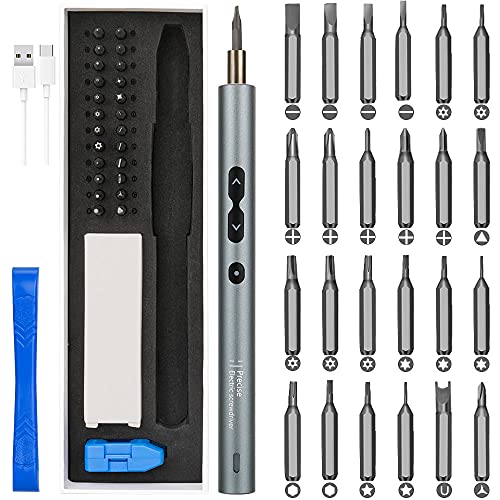 WOTOW Mini Electric Screwdriver, Automatic Cordless Torque Precision Screwdriver Set with 24 Bits 3 LED Working Light Magnetizer USB Rechargeable Handy Repair Tools for Phone, Watches, Toys, Laptops