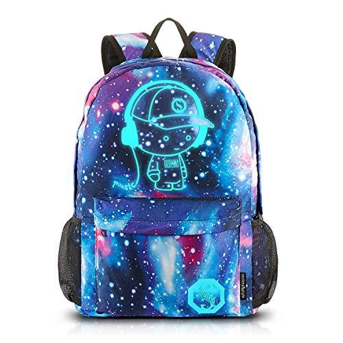Dracarys Anime Galaxy Mochila Luminosa: Escolar con Puerto de Carga USB   Daypack Ambulante